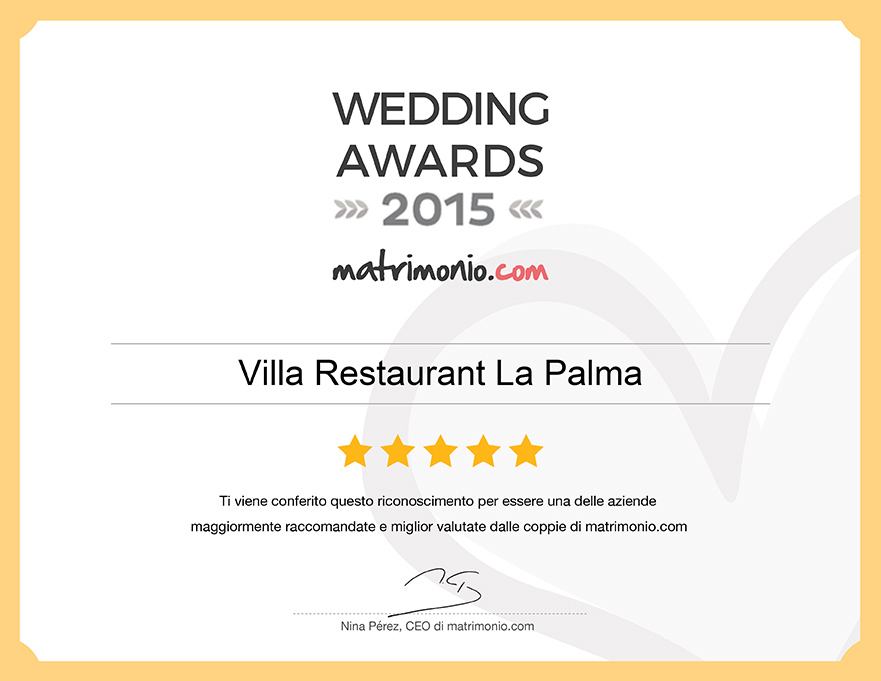 Villa Restaurant La Palma, vincitore Wedding Awards 2015 matrimonio.com