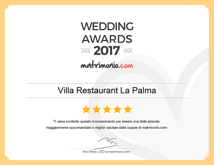 Villa Restaurant La Palma, vincitore Wedding Awards 2017 matrimonio.com