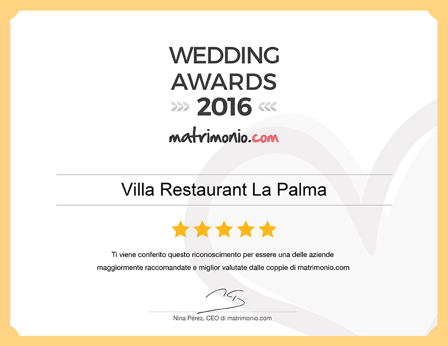 Villa Restaurant La Palma, vincitore Wedding Awards 2016 matrimonio.com